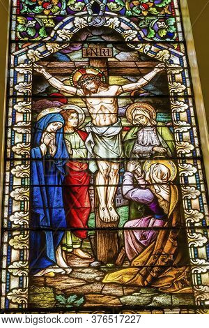 San Antonio, Texas - October 8, 2019 Basilica Jesus Christ Virgin Mary Crucifixion Stained Glass Sai