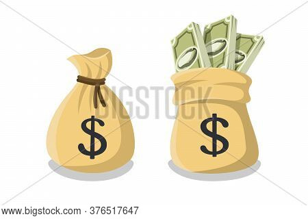 Tied Money Or Bank Bag And Untied Money Bag With A Dollar Sign And Sticking Out Bundles Of Dollar Bi