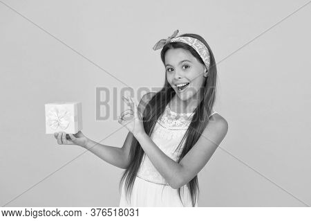 It Looks Okay To Me. Happy Child Give Ok To Gift Product. Presenting Product. Product Promotion. Pro