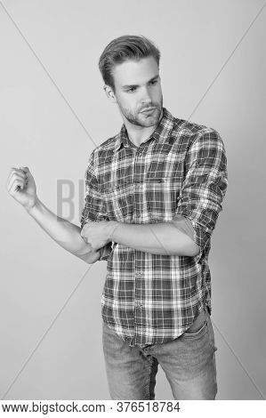 Fashion Summer Trends. Unshaven Man Skin Care. Barbershop Concept. Casual Style. Masculinity Concept