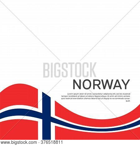 Norway Flag On A White Wavy Background. National Poster Design Of Norway. Business Booklet. State No
