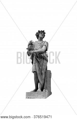 Statue Of Bacchus Or Dionysius Isolated On A White Background. In Ancient Greek Mythology The God Of