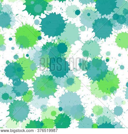 Watercolor Paint Transparent Stains Vector Seamless Grunge Background. Artistic Ink Splatter, Spray