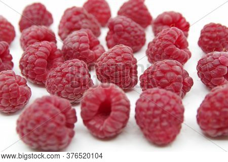 Raspberry Isolated. Raspberry On White. Raspberry Isolated On A White Background. Red Raspberry On A