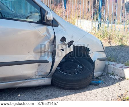 Car Crash Accident On Street, Damaged Automobiles After Collision In City.clipping Path Included.