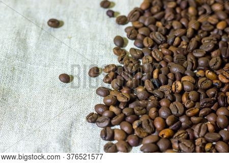Coffee Beans On Burlap, Coffee Beans On Burlap Background