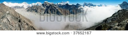 view of Everestse, Lhotse and cho oyu with Ngozumba glacier from gokyo ri - Nepal