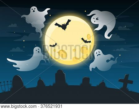 Halloween Creepy Poster. Flying Scare Ghosts, Spooky Ghost Halloween Character On Dark Ominous Backg