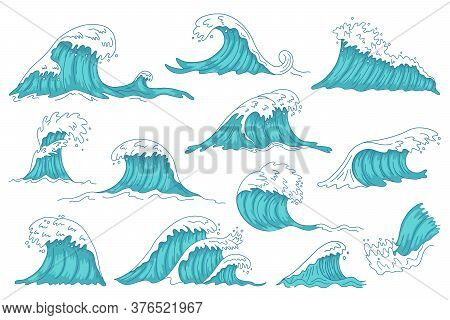 Sea Waves. Ocean Hand Drawn Water Wave, Vintage Storm Tsunami Waves, Raging Marine Water Shaft Isola