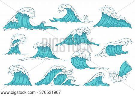 Sea Waves. Ocean Hand Drawn Water Wave, Vintage Storm Tsunami Waves, Raging Marine Water Shaft Isola