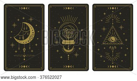 Magical Tarot Cards. Magic Occult Tarot Cards, Esoteric Boho Spiritual Tarot Reader Moon, Crystal An