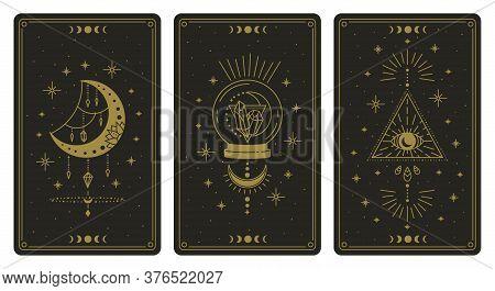 Magical Tarot Cards. Magic Occult Tarot Cards, Esoteric Boho Spiritual Tarot Reader Moon, Crystal An