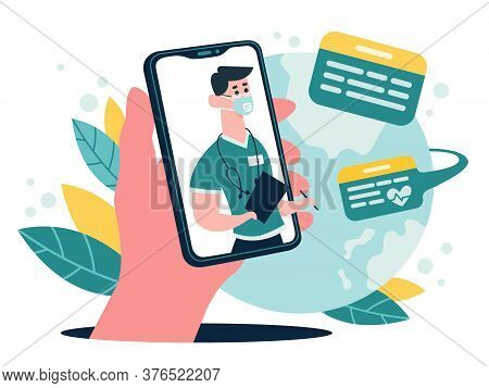 Medical Online Consultation. Therapist Advice Chat On Smartphone Screen, Online Medical Internet Cli