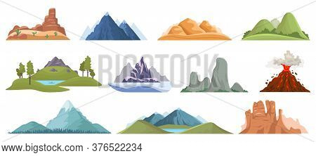 Mountain Peaks. Snow Ice Tops, Green Hills And Volcano Outdoor Landscape, Hiking, Climbing Mountain