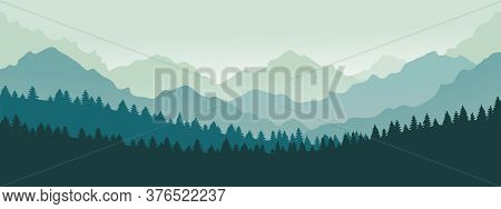 Mountains Panorama. Forest Mountain Range Landscape, Blue Mountains N Twilight, Camping Nature Lands