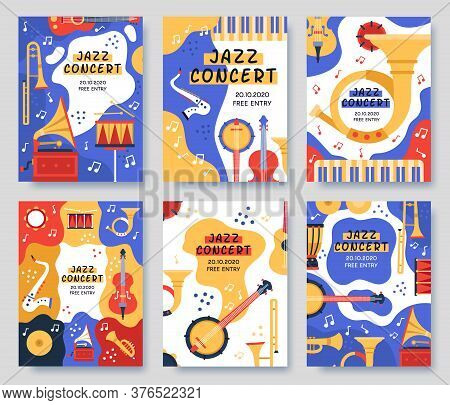 Music Festival Posters. Musical Party Or Event Music Instruments Abstract Banner, Jazz Concerts Invi