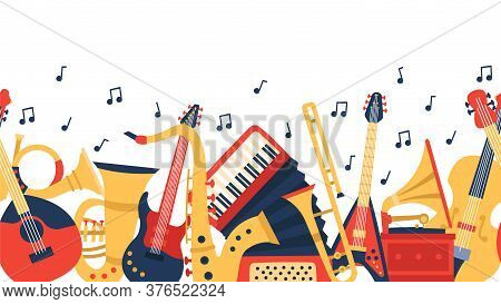 Musical Instruments Banner. Music Guitar, Violin And Vintage Accordion, Jazz Acoustics Music Instrum