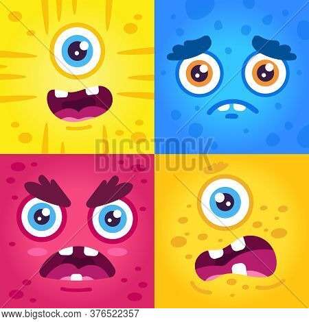 Funny Monster Expressions. Halloween Cute Creatures Muzzle, Scary Monster Face, Alien Creature Masco