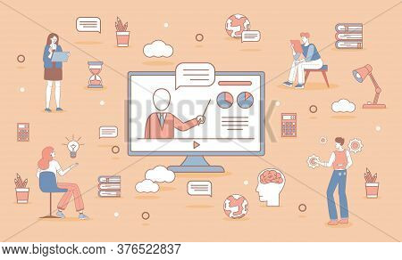 Online Education Banner Design. Happy People In Casual Clothes Learning Distance Vector Cartoon Outl