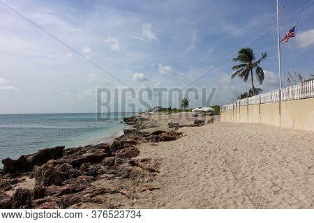 Stuart, Fl/usa-7/10/20: The Rocky And Sandy Beach Outside Of  Gilbert\'s Bar House Of Refuge In Stua
