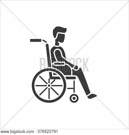 Disability Glyph Black Icon. Man In Manual Wheelchair. People With Disabilities Or Physical Disorder