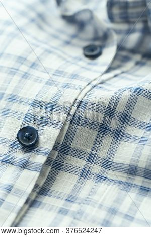 Close Up Of Men's Checkered Shirt. Copy Space.