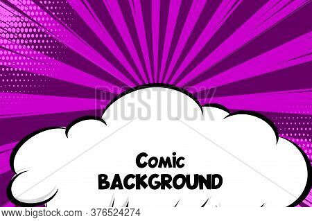 Comic Book Cartoon Speech Bubble Cloud For Text. Cartoon Puff Cloud Lilac Background For Text Templa