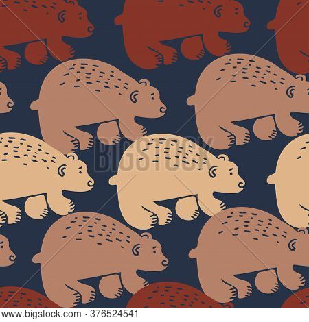 Vector Seamless Pattern Design Of Abstract Nordic Bears Silhouettes In Lines