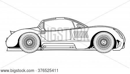Line Art Vector Classic Car Illustration. Concept Design Outline Icon. Cower Drawing. Black-white Ic