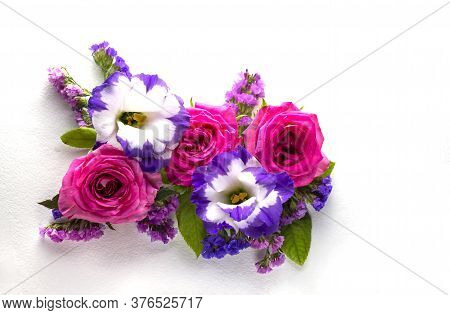 Beautiful Rose Flower In Garden. Rose Flower Background. Beautiful Bouquet Of Garden Roses Flowers O