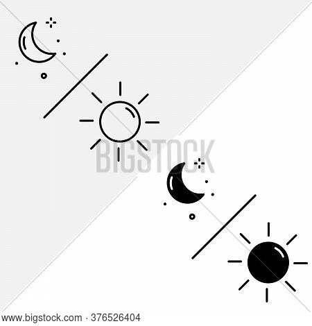 Day And Night Moon Icon Vector. Day And Night Moon Icon With Line Style And Solid Style