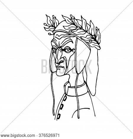 The Head Of The Famous Italian Poet Dante Alighieri In A Medieval Cap & Laurel Wreath, Caricature, V