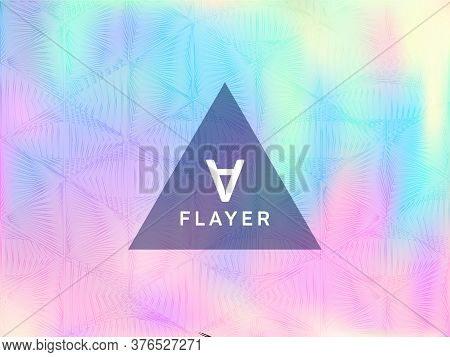 Metallic Presentation Holographic Gradient Vector Template. Club Party Placard Abstract Backdrop. Si
