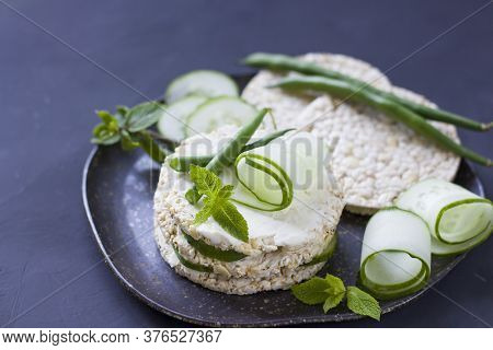 A Sandwich On A Tray. Sandwich With Red Fish And Greens. A Sandwich. Morning Sandwich With Cream Che
