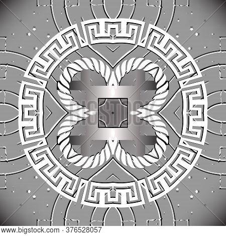 Greek Seamless Pattern. Vector Grunge Ornamental Gray Background. Modern Repeat Backdrop. Geometric