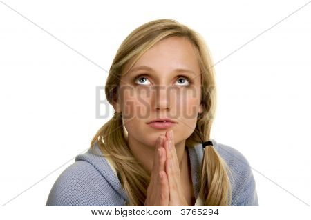 Prayerful Blond Woman