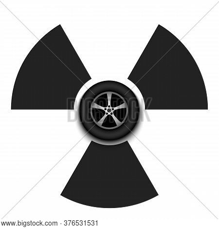 Radiaction Symbol With Car Wheel. Caution Radioactive Danger Sign. Racing Quarantined. Cancellation