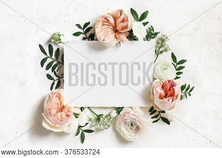 Feminine Wedding, Birthday Mock-up. Blank Paper Greeting Card. Floral Frame Of White And Pink Ranunc