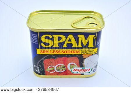 Quezon City, Ph - July 8 - Spam Luncheon Meat Can On July 8, 2020 In Quezon City, Philippines.