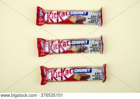Wetzlar, Germany 2020-06-15: Kitkat Bars Over Bright Background. Have A Break Have A Kitkat.