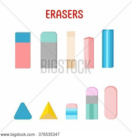 Set Of Erasers Of Different Color And Shape. Vector Illustration On White Background.