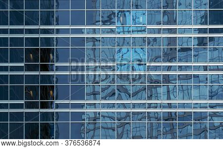 Office Building Windows Texture Of Blue Glass For Business Background, Business Center Generic Facad