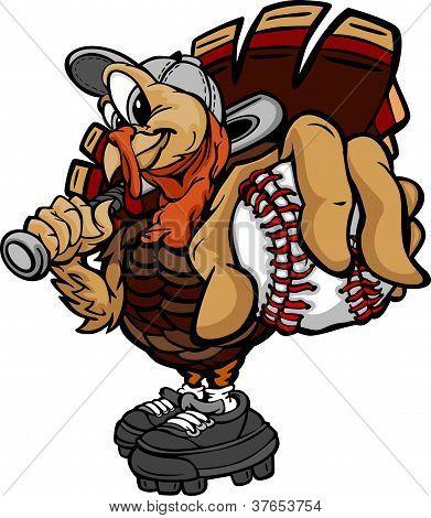 Baseball Or Softball Thanksgiving Holiday Turkey Cartoon Vector Illustration