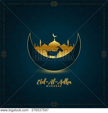Traditional Eid Al Adha Mubarak Greeting Design