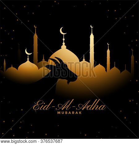 Eid Al Adha Traditional Golden Festival Background Design
