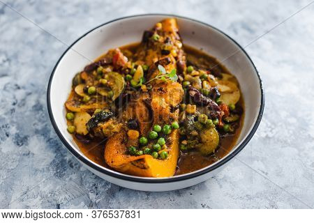 Healthy Plant-based Food Recipes Concept, Vegan Butternut Squash Roast With Beans And Mixed Mediterr