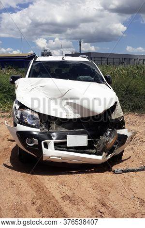 Car Crash Smash Accident On An Interstate Road