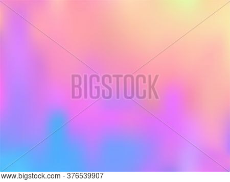 Blurred Hologram Texture Gradient Wallpaper. Abstract Pastel Rainbow Unicorn Background. Polar Light