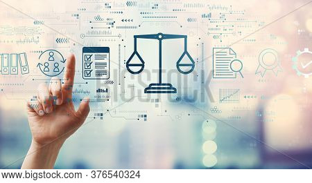 Legal Advice Service Concept With Hand Pressing A Button On A Technology Screen
