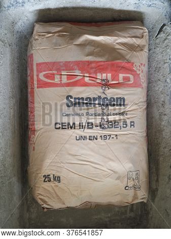 Turin - Jul 2020: Portland Cement 25 Kg Packet